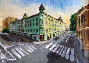 Картина маслом Московскй переулок 35х25 см