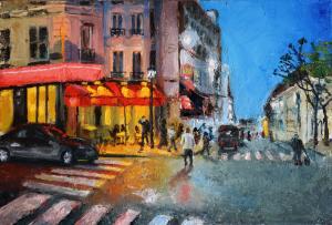 Картина маслом Paris, Rue des Trois Freres 30х20 см