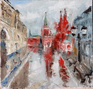 Картина маслом Москва, Никольская 20х20 см